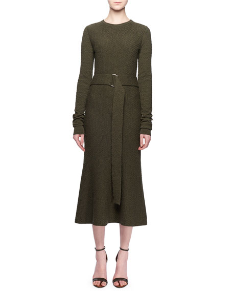 Jewel-Neck Long-Sleeve Belted A-Line Wool Midi Dress