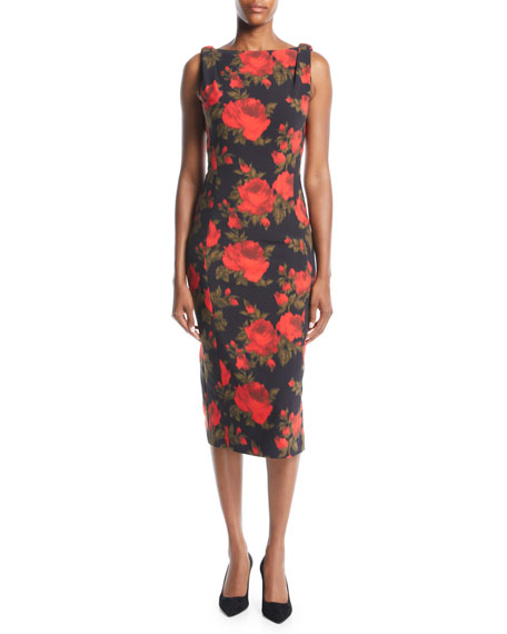 Michael Kors Collection Sleeveless Floral-Print Midi Sheath Dress