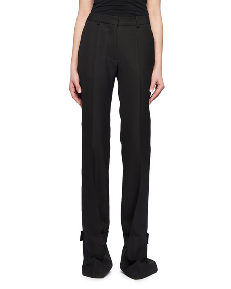 Straight-Leg Flat-Front Wool Pants w/ Cuff Detail