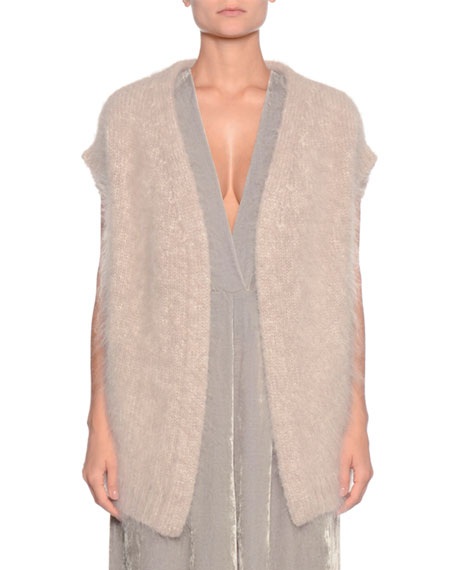 Open-Front Mohair-Blend Vest w/ Self-Tie