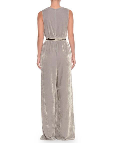 Deep-V Sleeveless Wide-Leg Jumpsuit