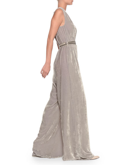 Deep-V Sleeveless Wide-Leg Jumpsuit w/ Leather Belt