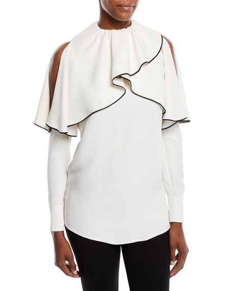 Cold-Shoulder Long-Sleeve Silk Cady Blouse