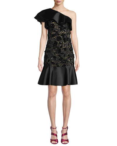 One-Shoulder Duchess Ruffle Floral-Lace Cocktail Dress