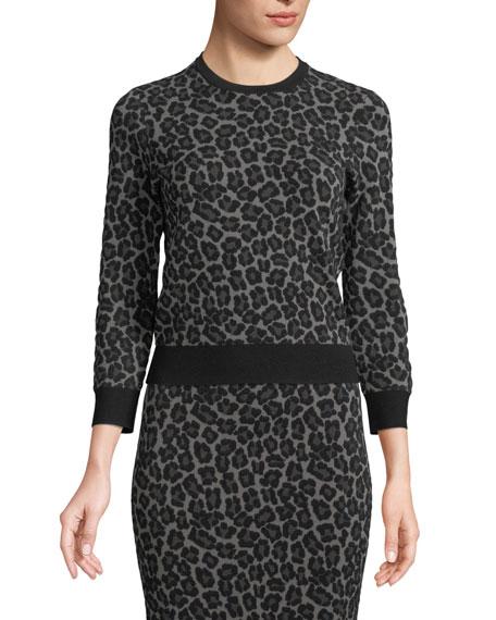 Crewneck Leopard-Print Stretch-Viscose Pullover Top