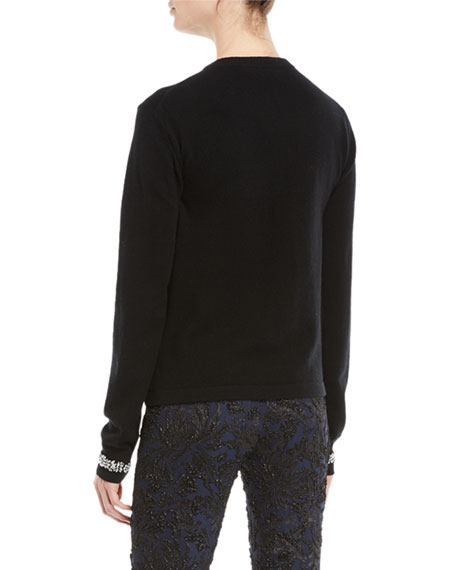 Crystal-Embellished Crewneck Cashmere-Blend Sweater