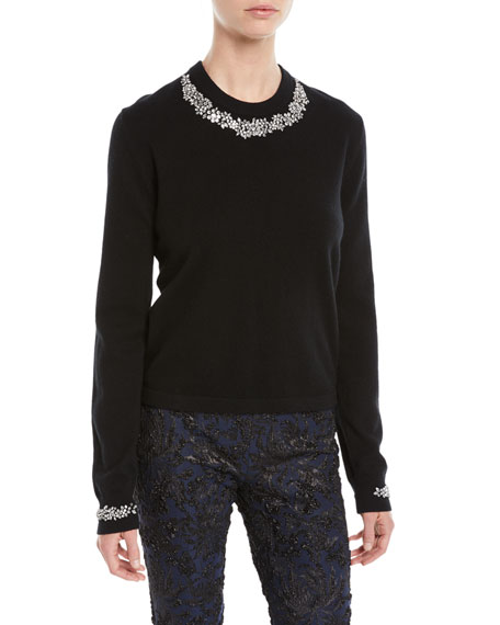 Michael Kors Collection Crystal-Embellished Crewneck