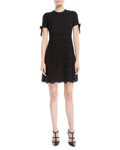 Short-Sleeve A-Line Crepe Couture Heavy Lace Dress