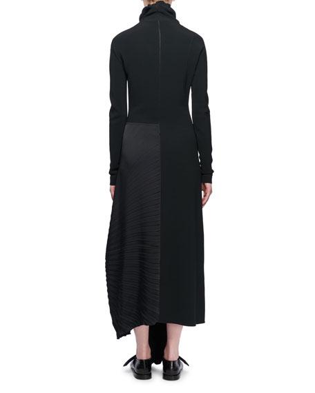 Mock-Neck Long-Sleeve Pleated-Side Long Dress