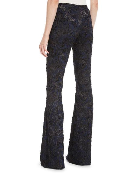 Floral Stretch Metallic-Brocade Flared-Leg Pants