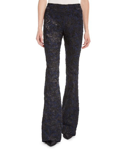 Floral Stretch Metallic-Brocade Flared-Leg Pants