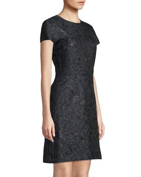 Jewel-Neck Cap-Sleeve Metallic Damask Brocade A-Line Mini Dress