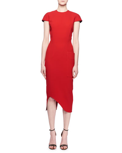 Cap-Sleeve Jewel-Neck Fitted Cocktail Dress w/ Side Pocket