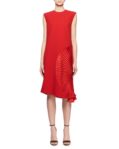 Sleeveless Pleated Side A-Line Crepe Cocktail Dress