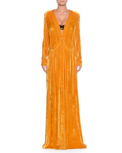 Deep-V Button-Front Long-Sleeve Draped Velvet Long Dress w/ Self Belt