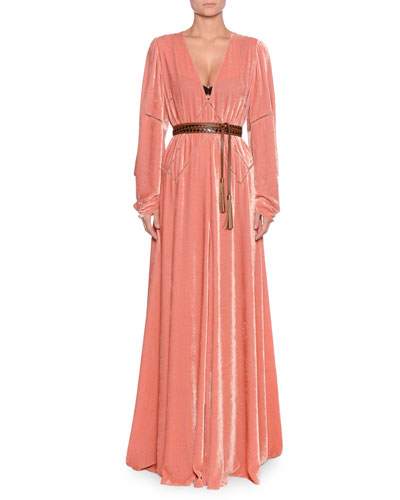 V-Neck Long-Sleeve Belted Chain-Stitch A-Line Long Dress w/ Leather Belt