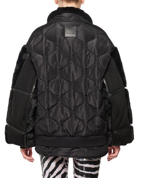 Zip-Front Patchwork Silk Taffeta Puffer Bomber Jacket w/ Faux-Fur