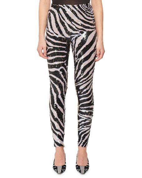 Zebra Stripe Sequin Leggings