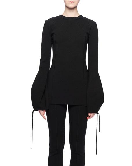 Crewneck Tie-Sleeve Wool-Blend Sweater