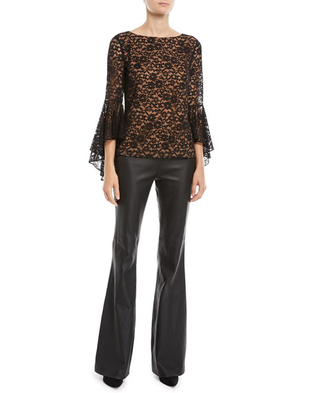 Flared-Leg Plonge Leather Pants