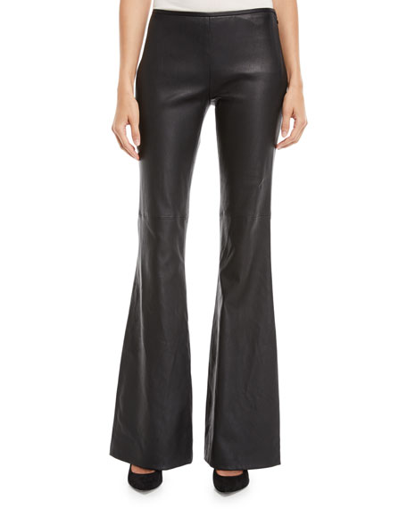 Side Zip Stretch Leather Flare Pant, Black