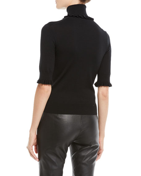 Turtleneck Stretch Matte Jersey Shell Top w/ Ruffled Trim