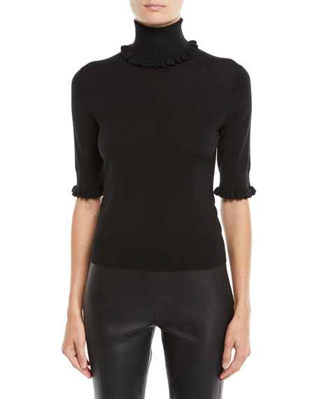 Michael Kors Collection Turtleneck Stretch Matte Jersey Shell