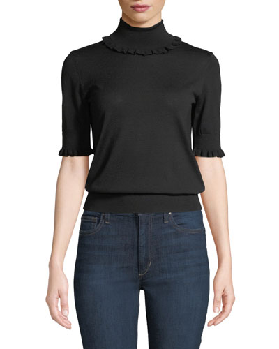 Ruffled-Trim Turtleneck Elbow-Sleeve Merino Knit Top