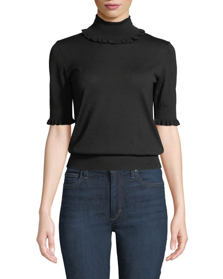 Michael Kors Collection Ruffled-Trim Turtleneck Elbow-Sleeve