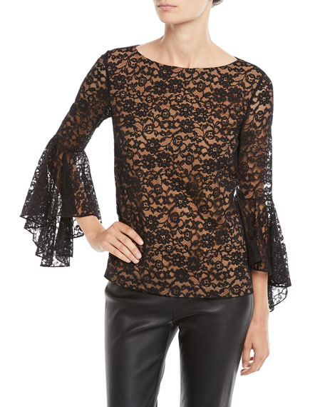 Michael Kors Collection Round-Neck Bell-Sleeve Floral-Lace Top