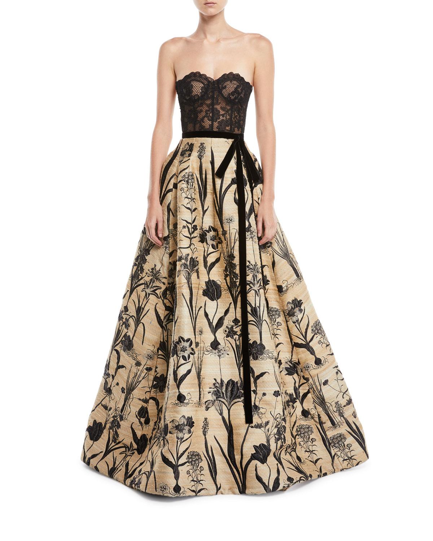 Oscar de la Renta Strapless Lace Bustier Full-Skirt Evening Ball ...