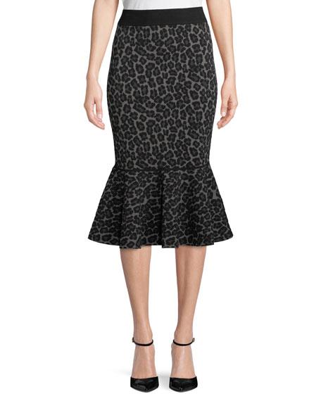 Leopard-Print Pencil Peplum Midi Skirt