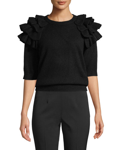 Ruffled Elbow-Sleeve Crewneck Cashmere Sweater