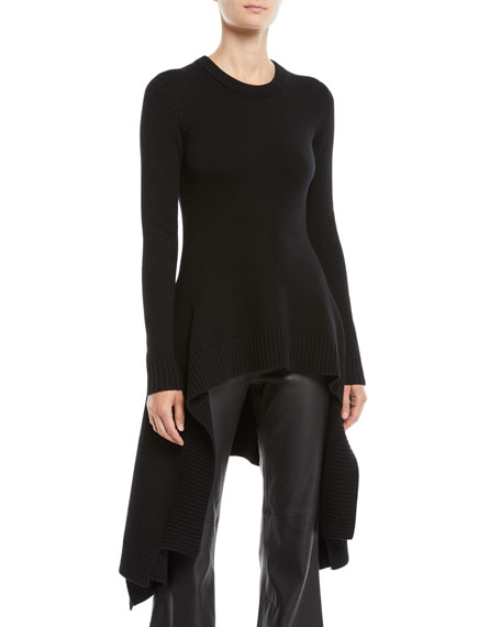 Michael Kors Collection Crewneck Long-Sleeve Handkerchief-Hem