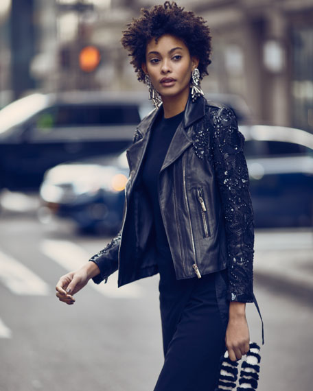 Sophia Zip-Front Lambskin Leather Jacket w/ Studded Embroidered Sleeves