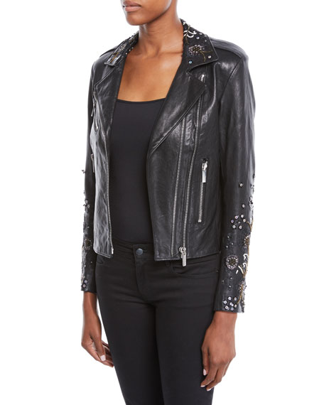 Oceane Zip-Front Lambskin Leather Jacket w/ Sequin Embroidery