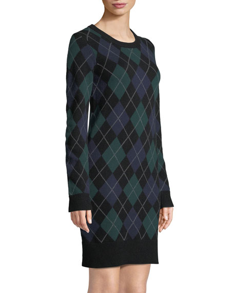Crewneck Long-Sleeve Argyle Cashmere Sweater  Dress