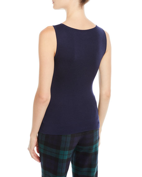 Scoop-Neck Fitted Cashmere Shell