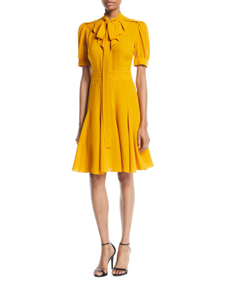 TIE-NECK SHORT-SLEEVE FIT-AND-FLARE SILK DRESS