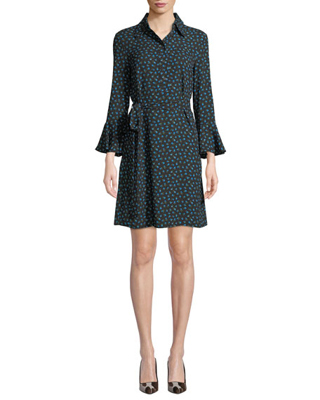 Michael Kors Collection Bell-Sleeve Button-Front Rosebud-Print