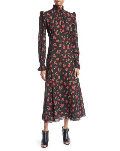 Ruffled Turtleneck Long-Sleeve Rose-Print Georgette Long Dress