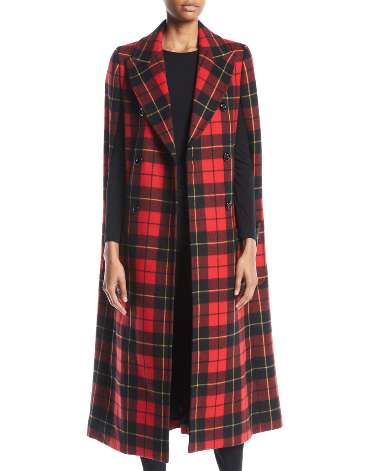 Michael Kors Collection Double Breasted Tartan Plaid Cape