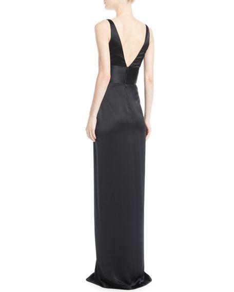 Deep-V Sleeveless Silk Column Evening Gown