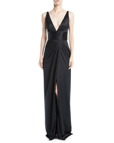 Deep-V Sleeveless Silk Column Evening Gown