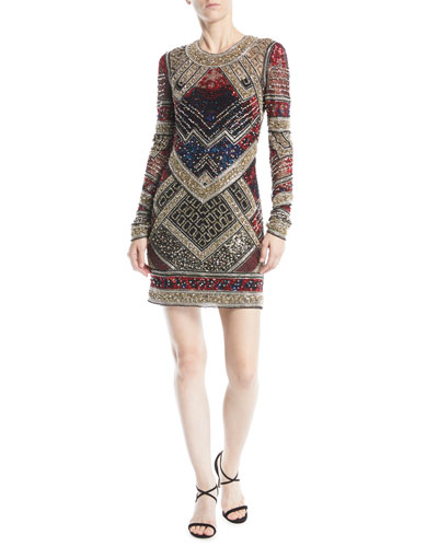Jewel-Neck Long-Sleeve Beaded Mini Cocktail Dress