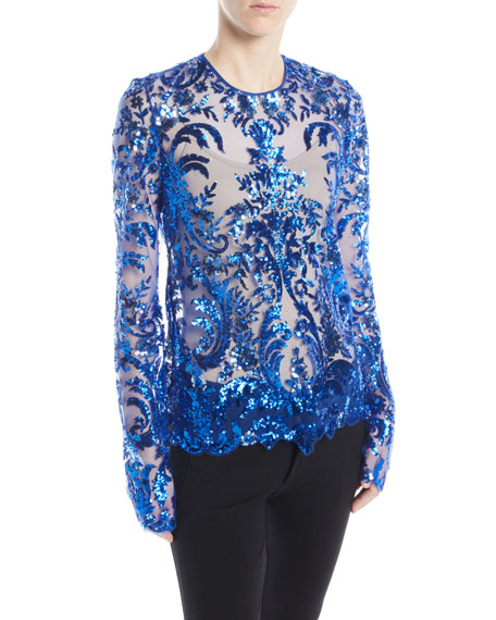Jewel-Neck Long-Sleeve Sequined Lace Blouse