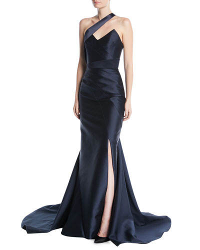 Paneled One-Shoulder Side-Slit Silk-Wool Gown w/ Satin Insets