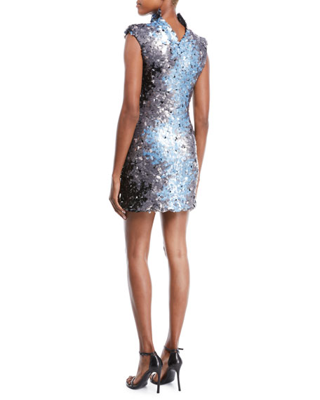 Sequin Embroidered Body-con Cocktail Dress with Structured Collar