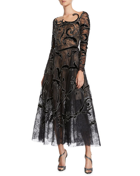 Long-Sleeve Illusion-Neck Arabesque-Embroidered A-Line Cocktail Dress, Black