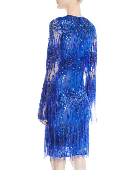 Jewel-Neck Long-Sleeve Beaded-Fringe Cocktail Dress
